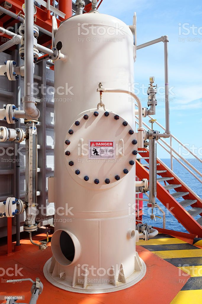 oil and gas Industrial compressed air receivers or storage vessels stock photo