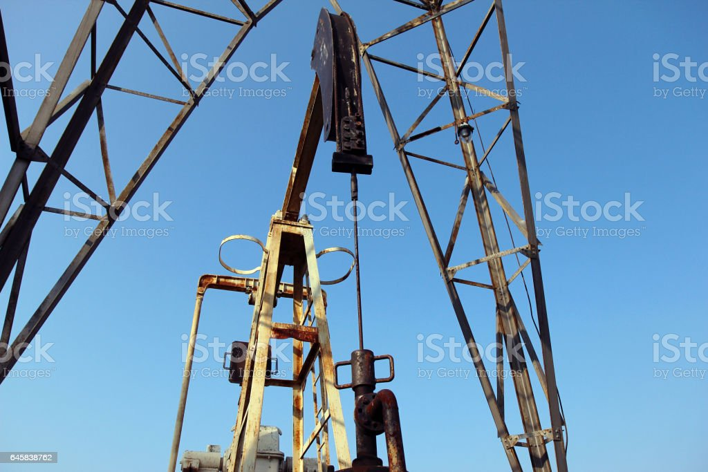 oil and gas industry. Crude oil mining pump stock photo