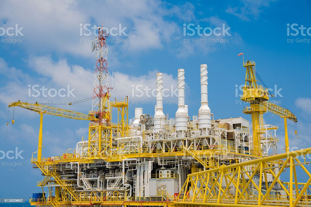 Oil and Gas industry look to the top of deck stock photo