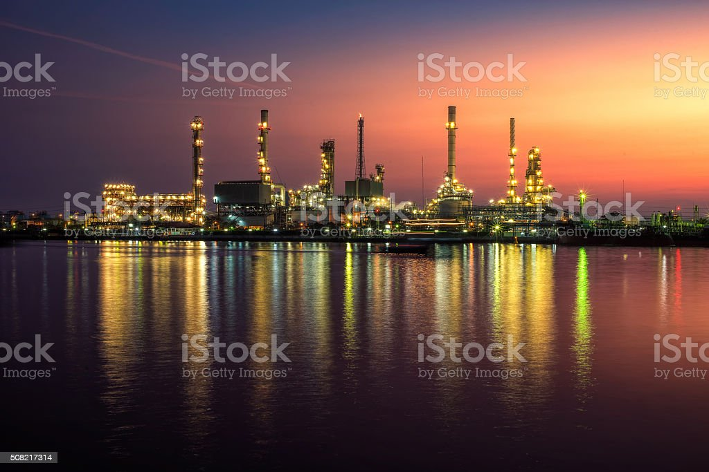 Oil and gas industry - refinery at Sunrise stock photo