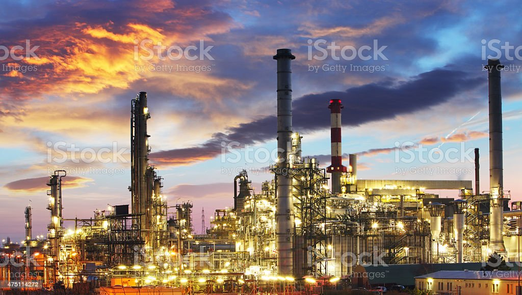 Oil and gas industry - refinery at twilight - factory stock photo