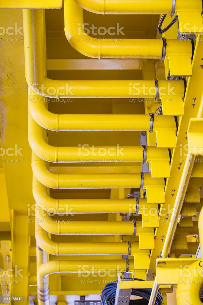 Oil and gas piping work with flange joint and support stock photo