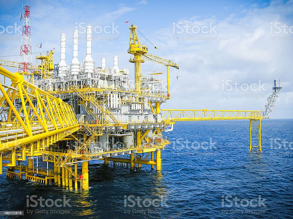 Oil and gas platform in ocean at gulf of Thailand, cloud, blue sky