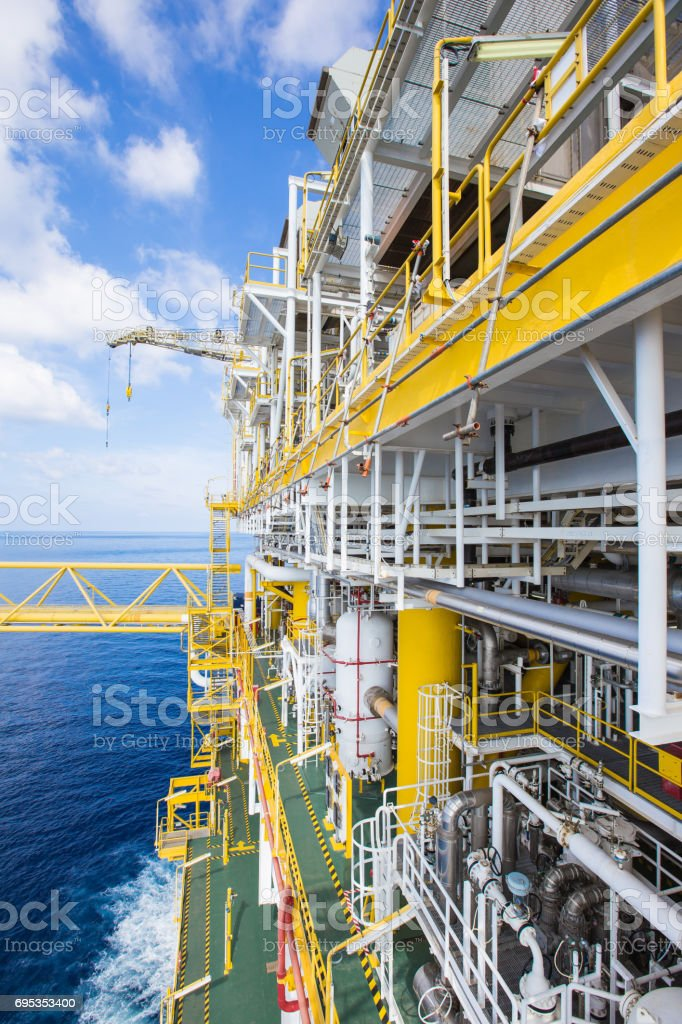 Oil and gas processing platform at North side,Oil and gas in dustry in the gulf of Thailand to threat gas and crude oil for sent to onshore stock photo