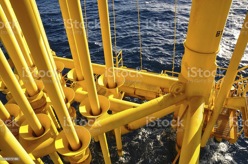 Oil and Gas Producing Slots at Offshore Platform royalty-free stock photo