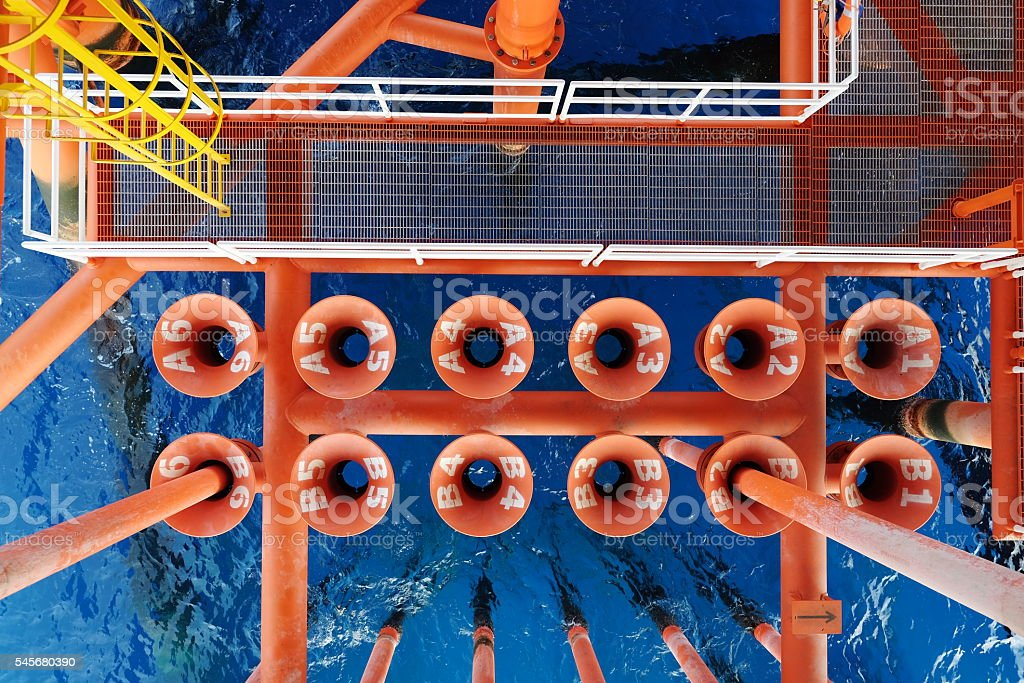 Oil and Gas Producing Slots at Offshore Platform, stock photo
