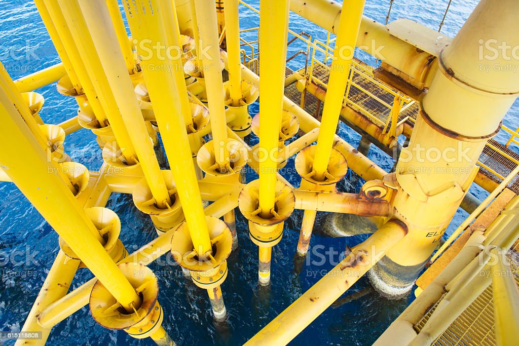 Oil and Gas Producing Slots at Offshore Platform. stock photo