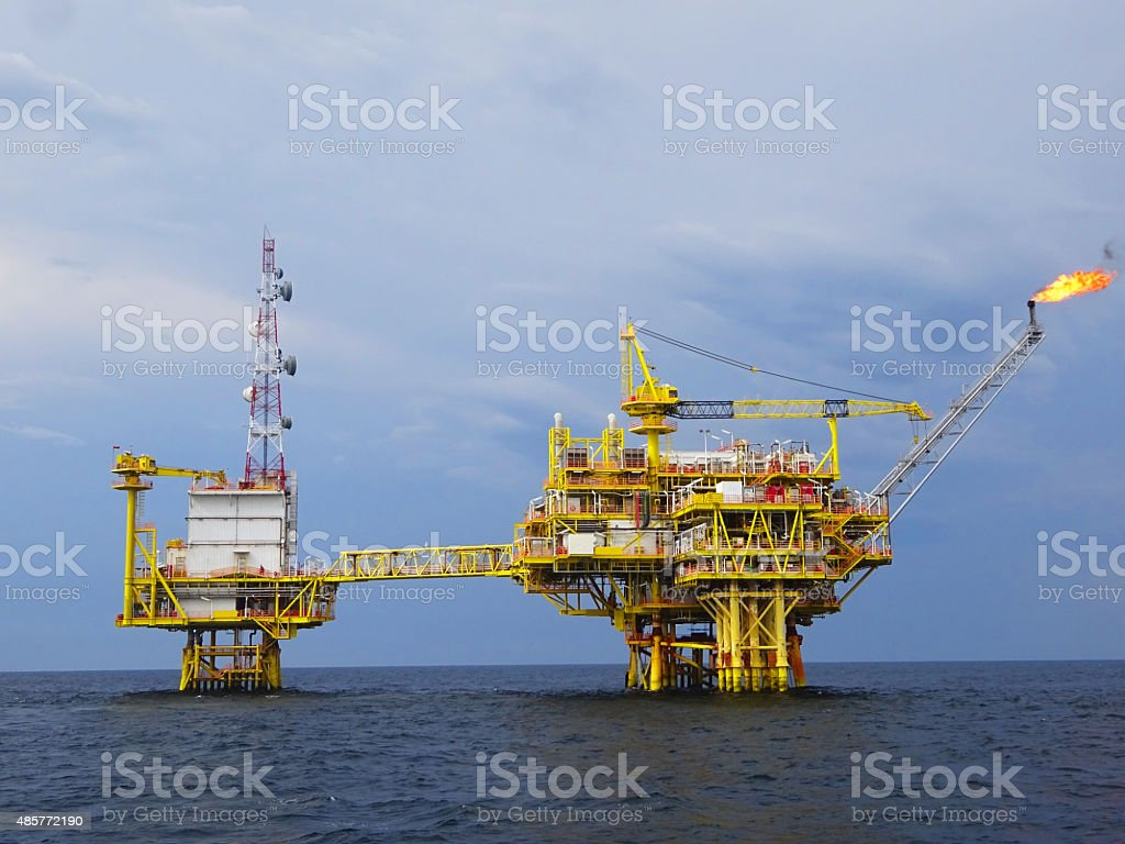 Oil and Gas Production platform stock photo
