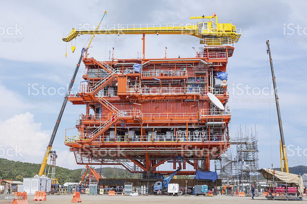 Oil and gas production platform royalty-free stock photo