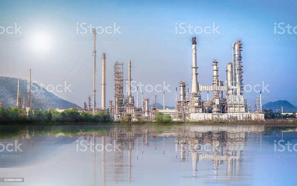 Oil and Gas refinery plant with blue sky, stock photo