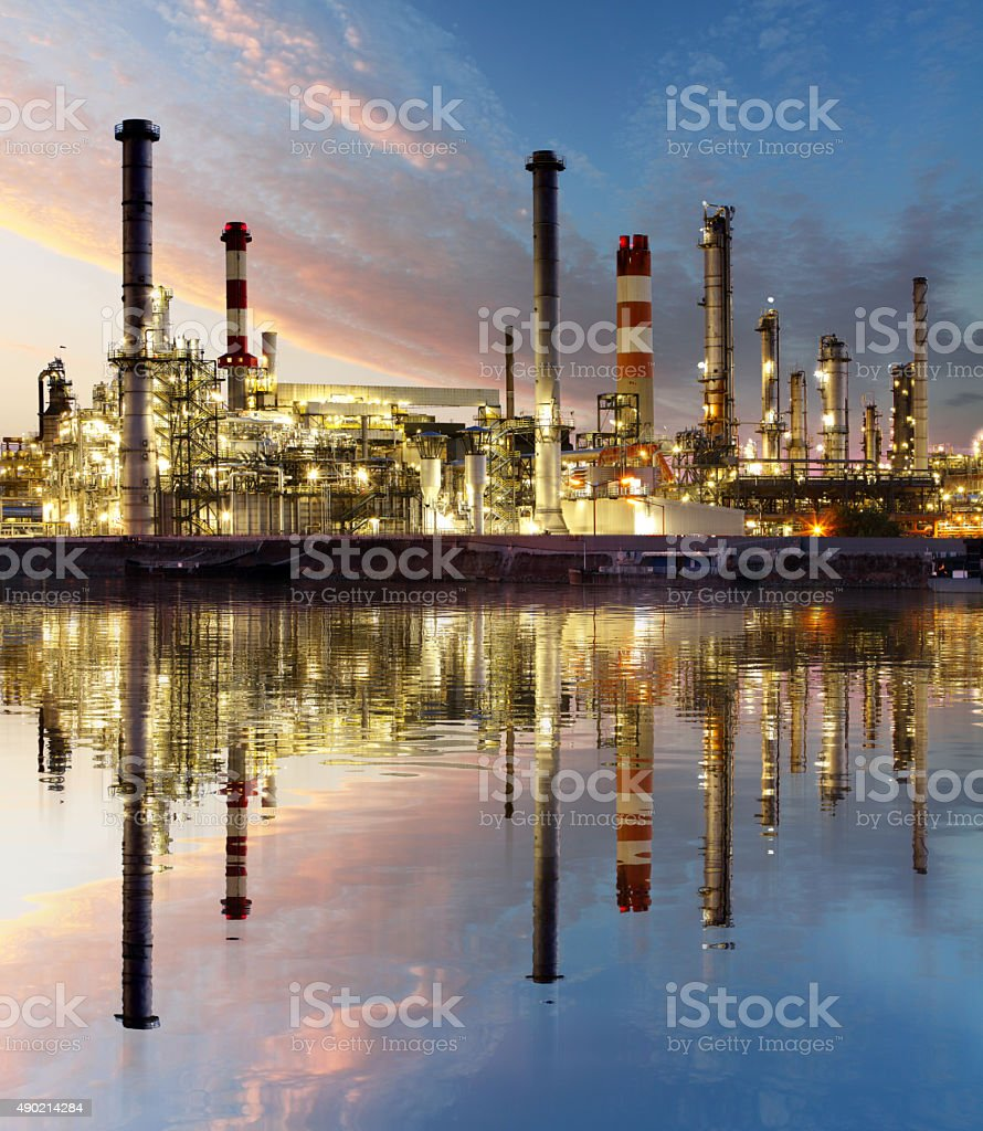 Oil and gas refinery, Power Industry stock photo