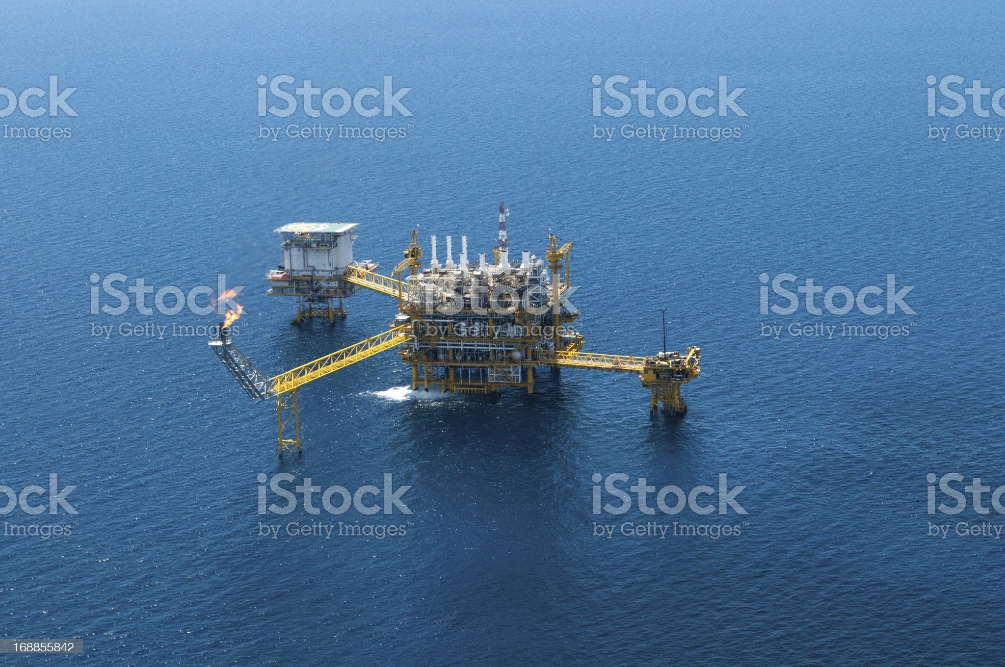 Oil and gas rig from bird eye's view royalty-free stock photo