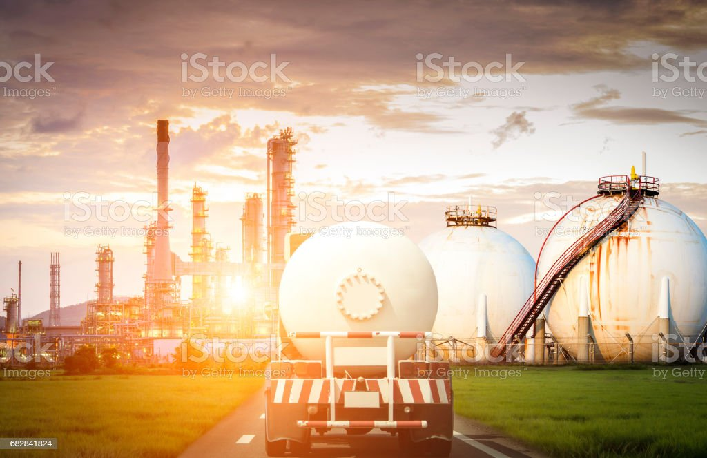 Oil and gas transportation by truck stock photo