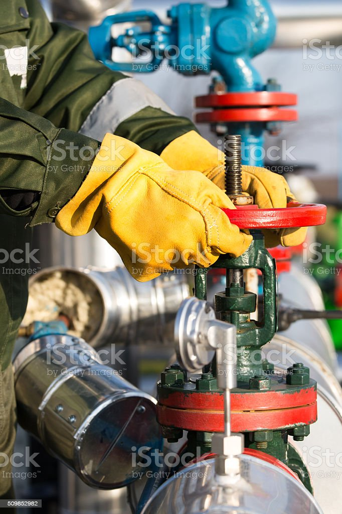 Oil and Gas Well Drilling Worker stock photo