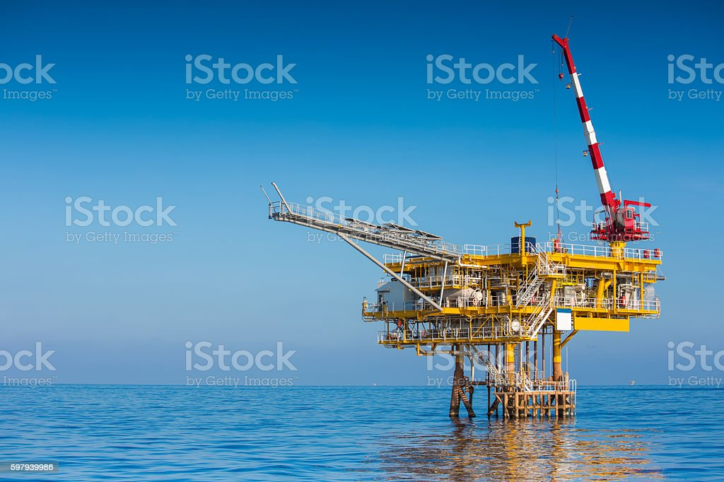 Oil and Gas wellhead remote platform. stock photo