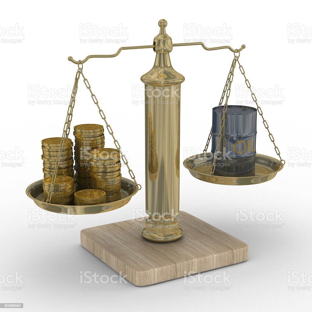 Oil and money for scales. Isolated 3D image. royalty-free stock vector art