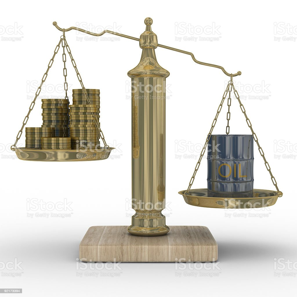 Oil and money for scales. Isolated 3D image. royalty-free stock photo
