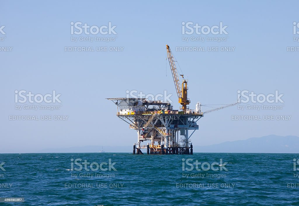 Oil and Natural Gas Platform Gina in Pacific Ocean stock photo