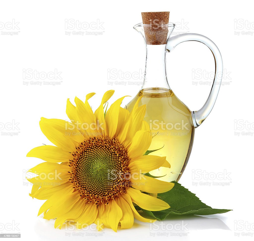 Oil and Sunflower stock photo