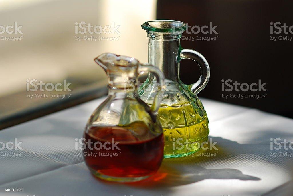 Oil and vinegar bottles stock photo