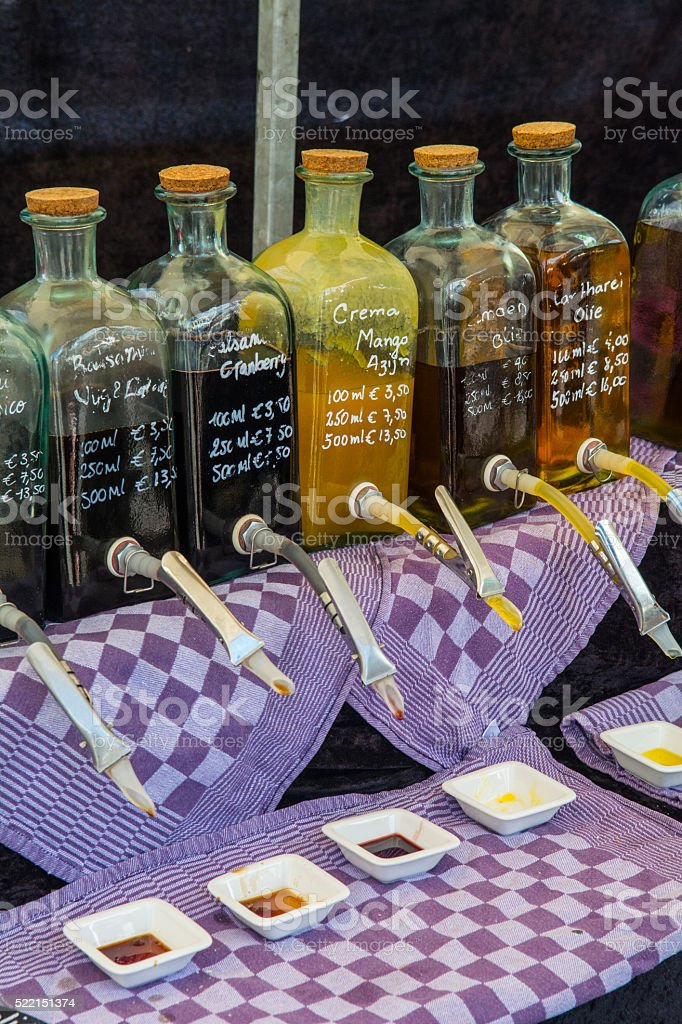 Oil and Vinegar on artisan market stock photo
