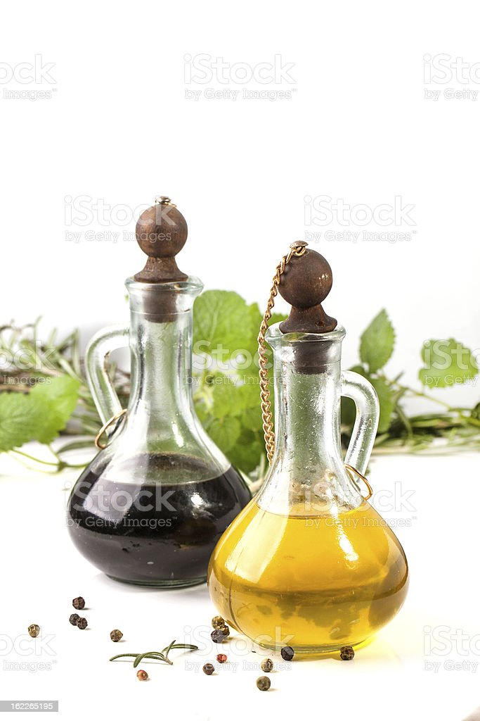 oil and vinegar with herb royalty-free stock photo