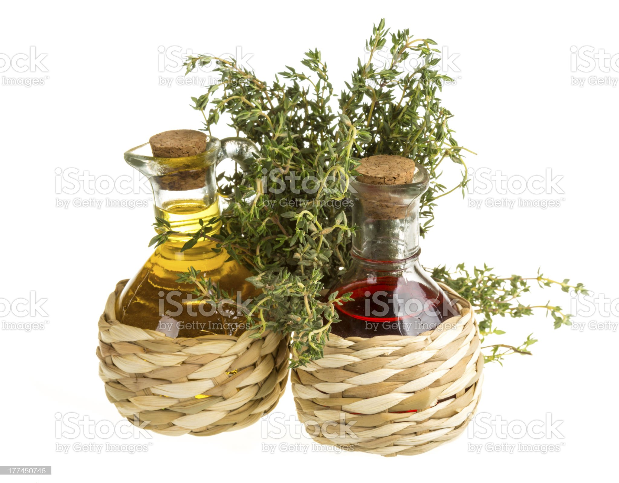 Oil and Vinegar with thyme royalty-free stock photo