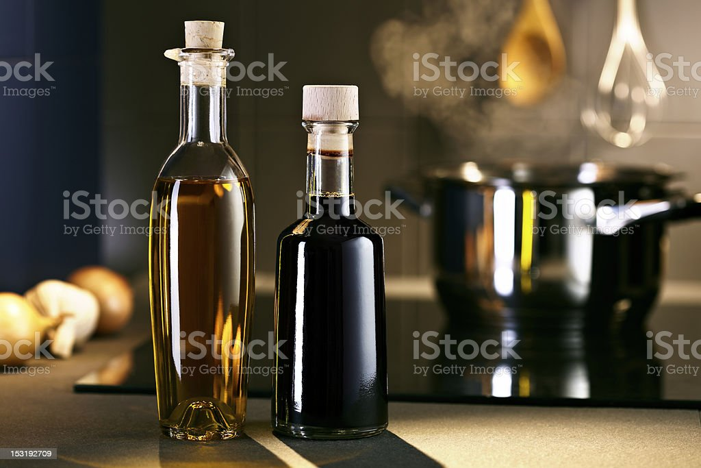 Oil and vingar in kitchen royalty-free stock photo