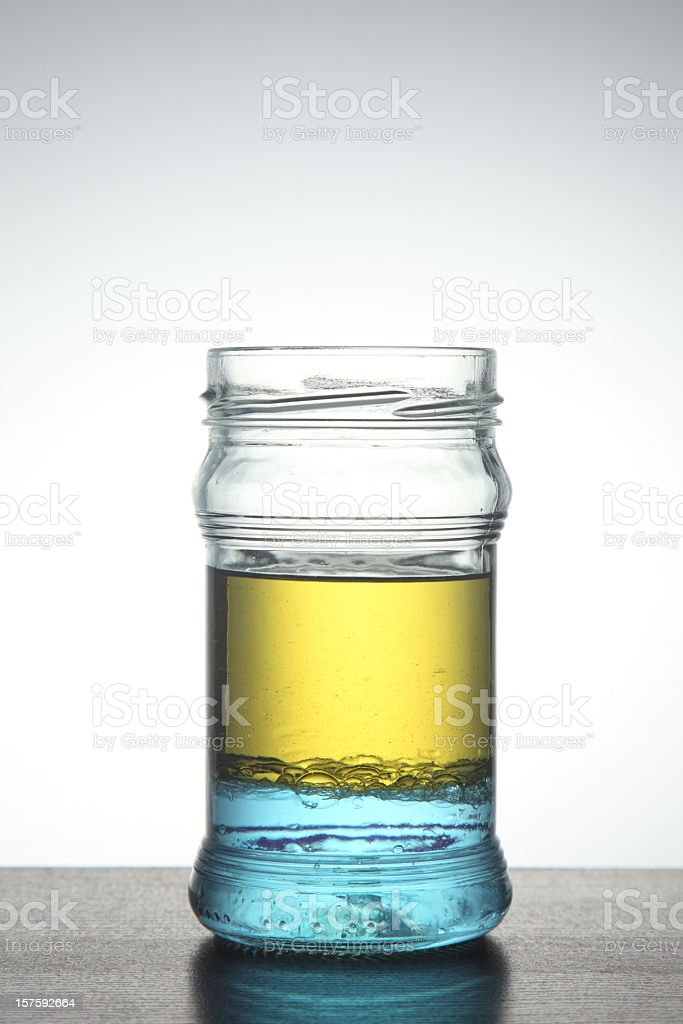 Oil and water don't mix stock photo