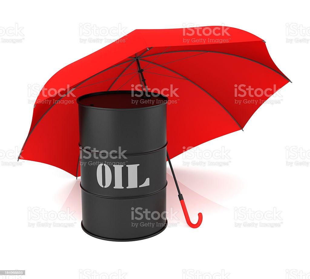 Oil Barrel and Umbrella royalty-free stock photo