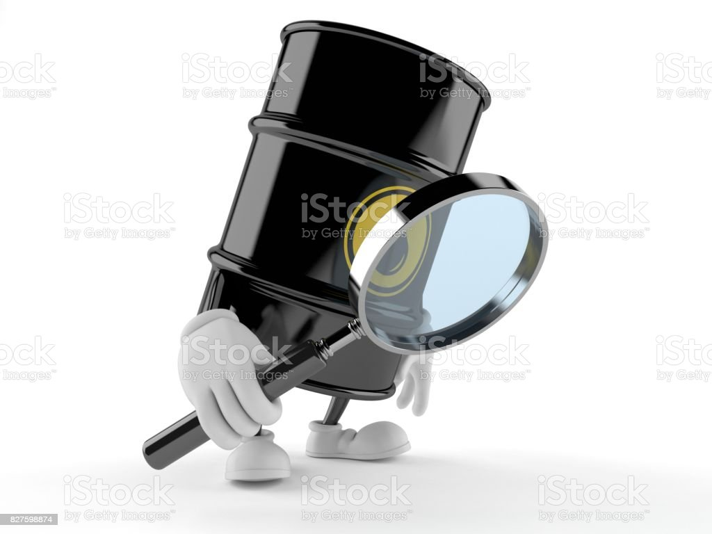 Oil barrel character looking through magnifying glass stock photo