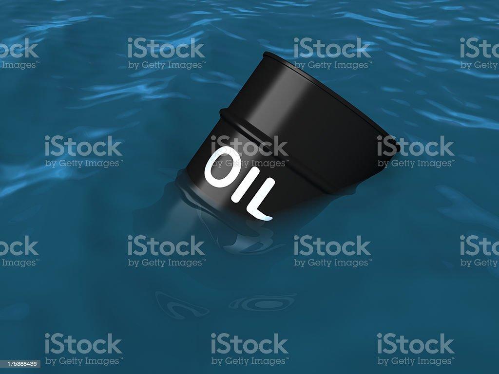 Oil barrel sinking in water stock photo