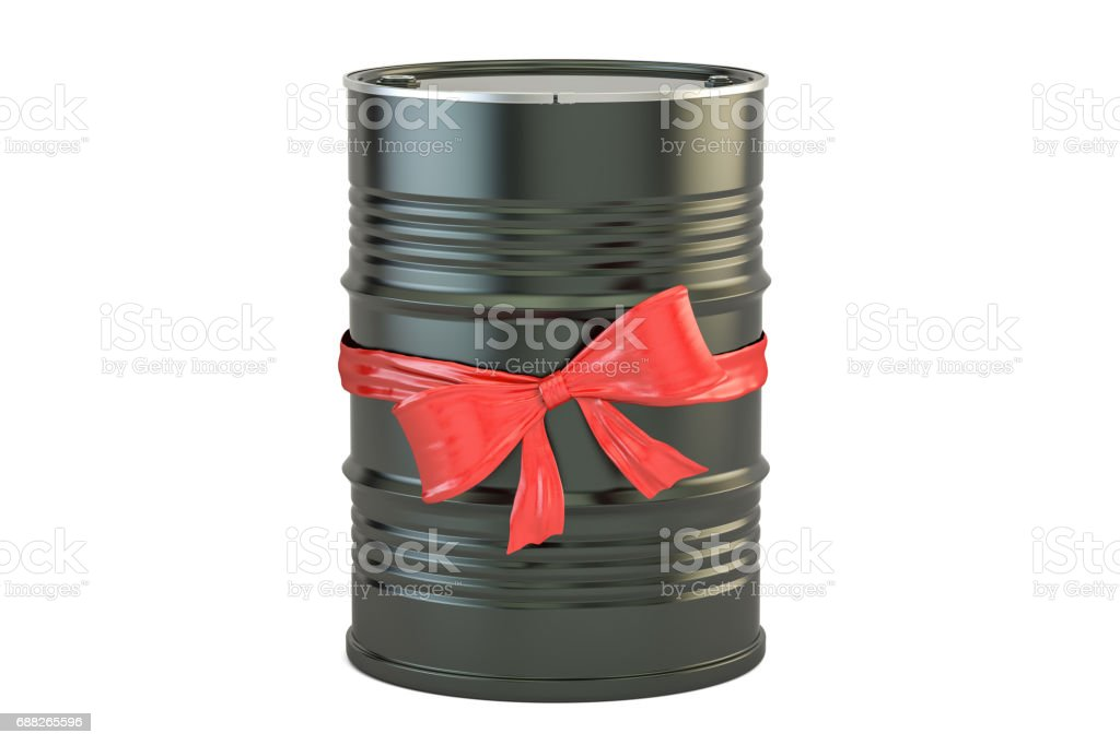 oil barrel with bow and ribbon, gift concept. 3D rendering isolated on white background stock photo