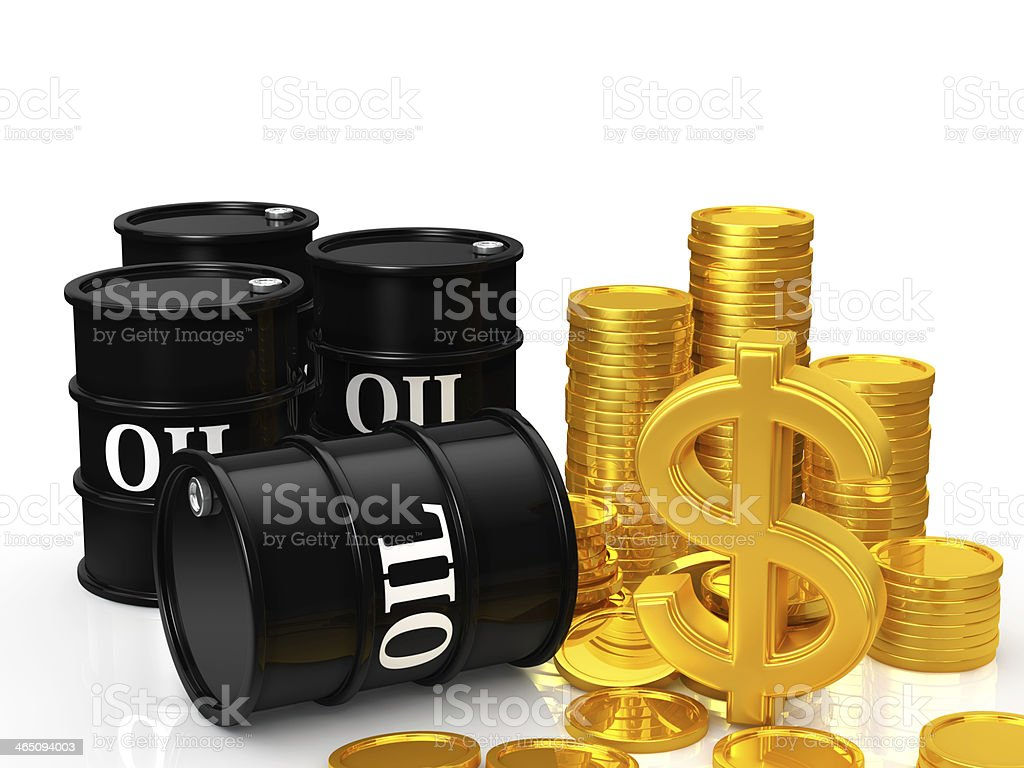 Oil barrels and coins with a dollar sign isolated on white stock photo