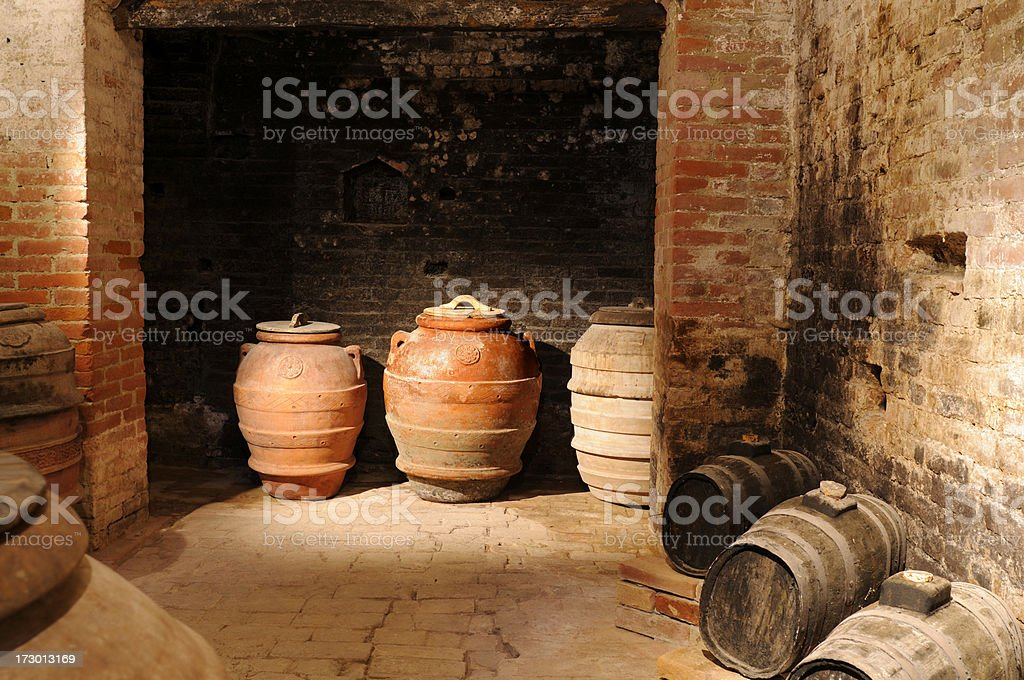 oil barrels in a cellar royalty-free stock photo