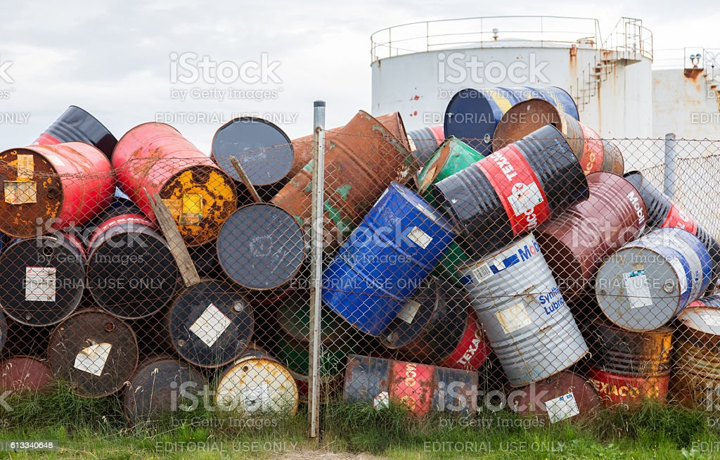 Oil barrels or chemical drums stock photo