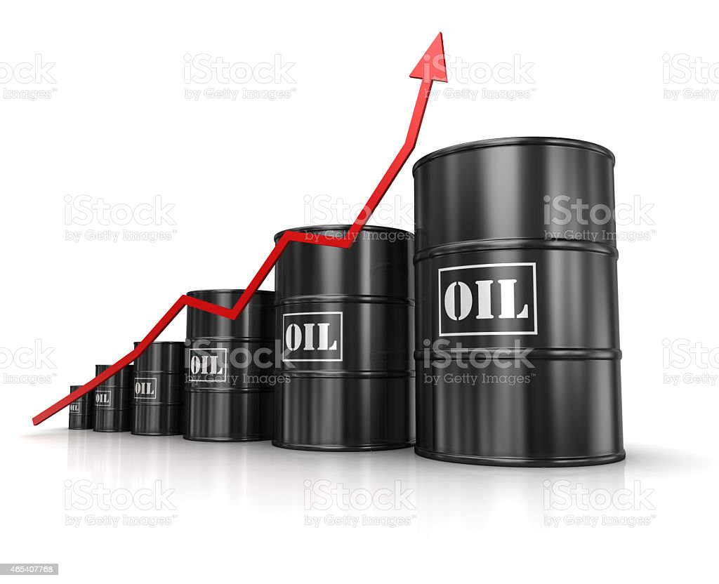 Oil barrels with increasing red arrow stock photo
