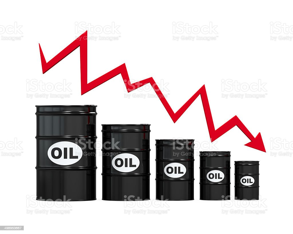 Oil Barrels with Red Arrow stock photo