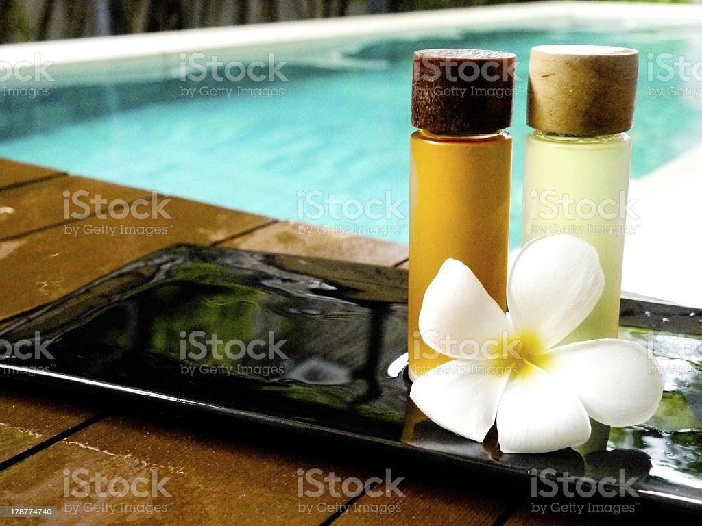 Oil bath spa with Plumeria royalty-free stock photo