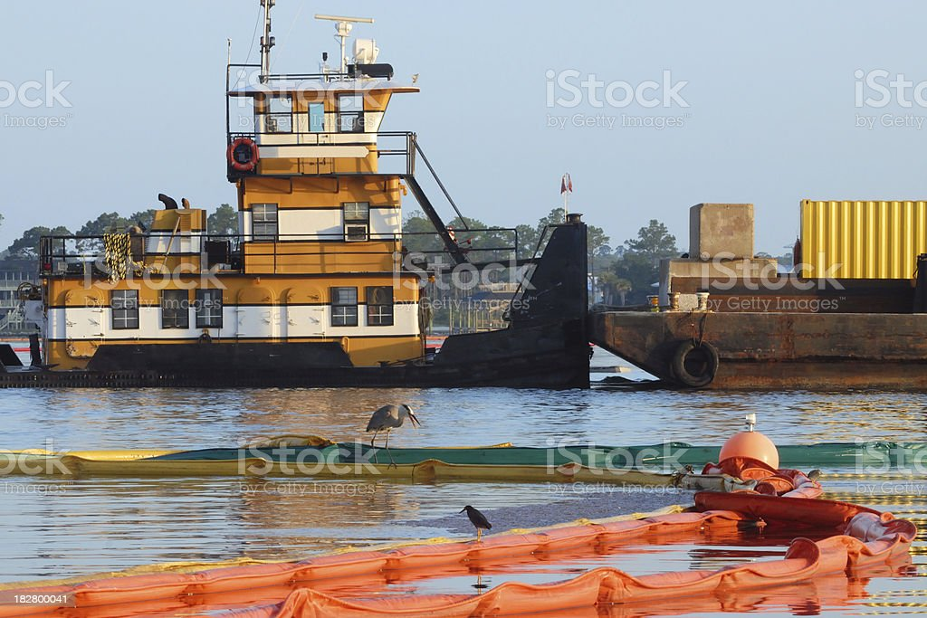 Oil Boom Deployment stock photo