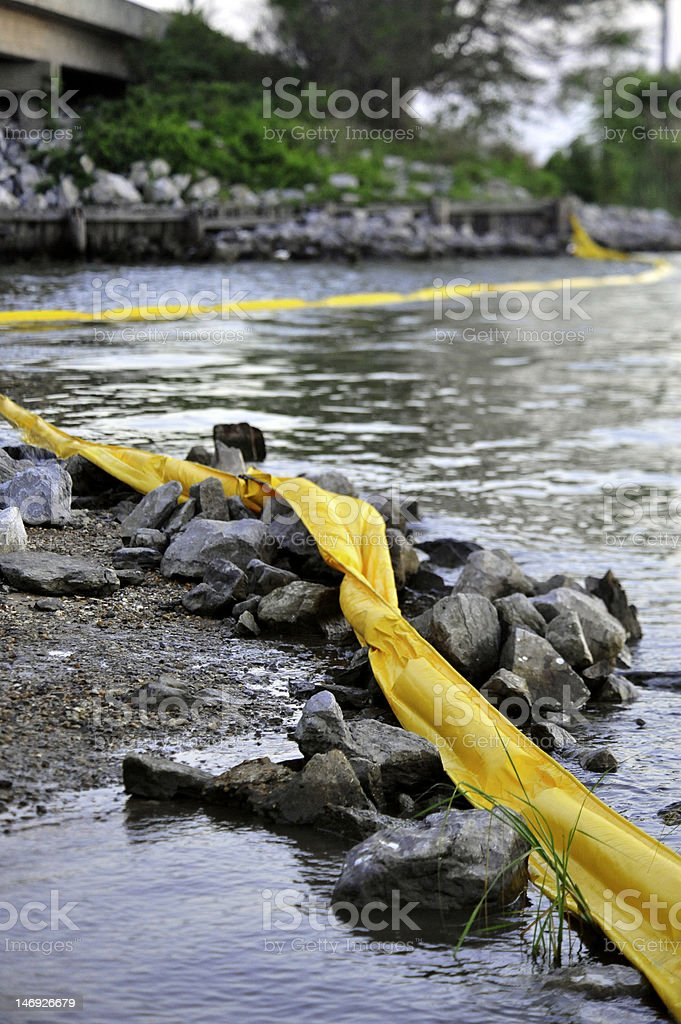 Oil Boom Protects Shores royalty-free stock photo