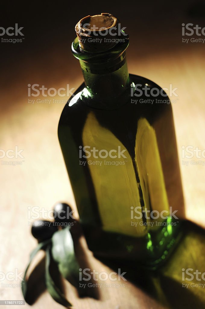 oil bottle and decoration royalty-free stock photo