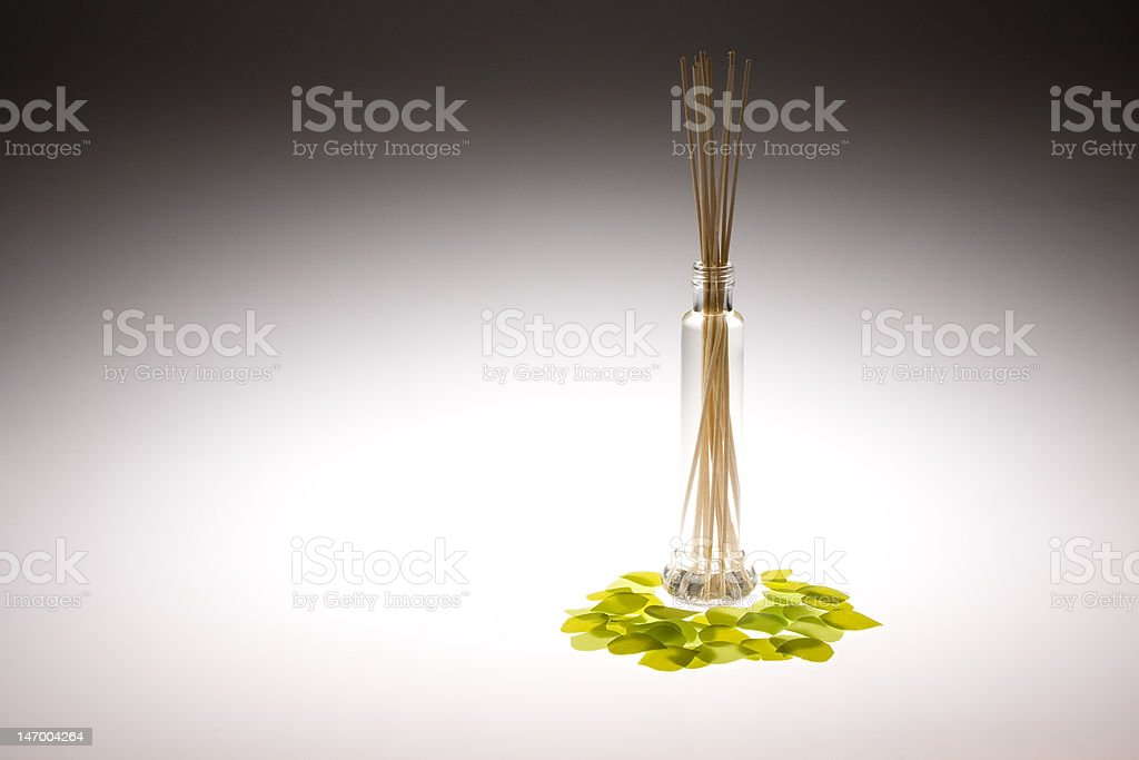 Oil bottle perfumed with evaporation stock photo