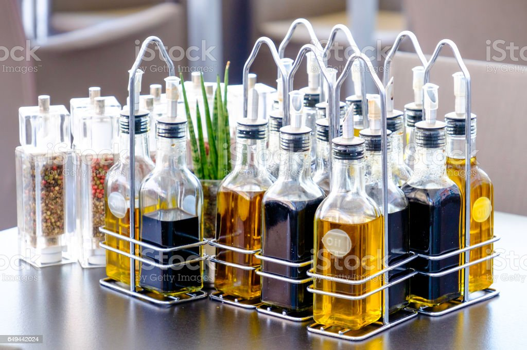 oil bottles stock photo