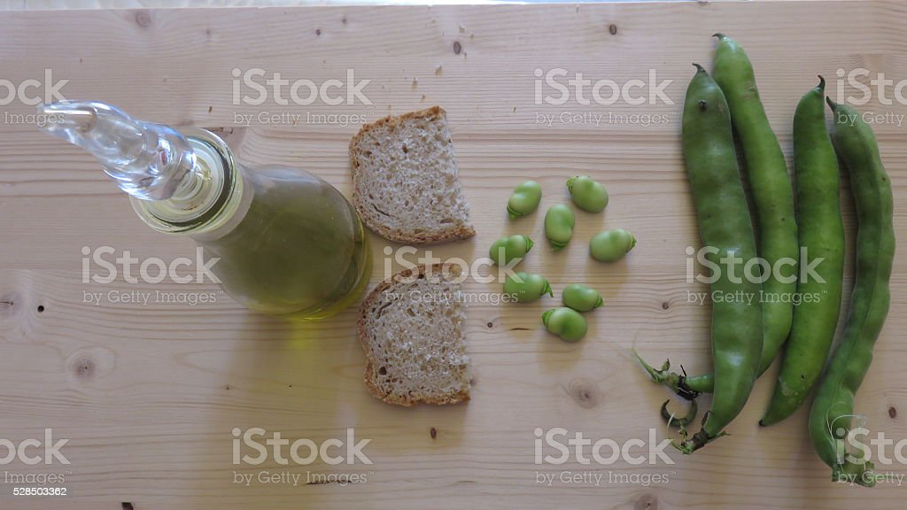 Oil bread and beans stock photo