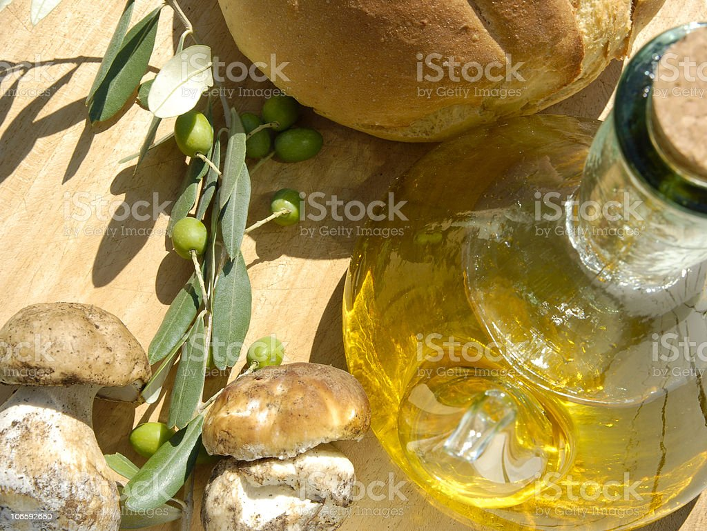 oil ,bread and mushrooms royalty-free stock photo