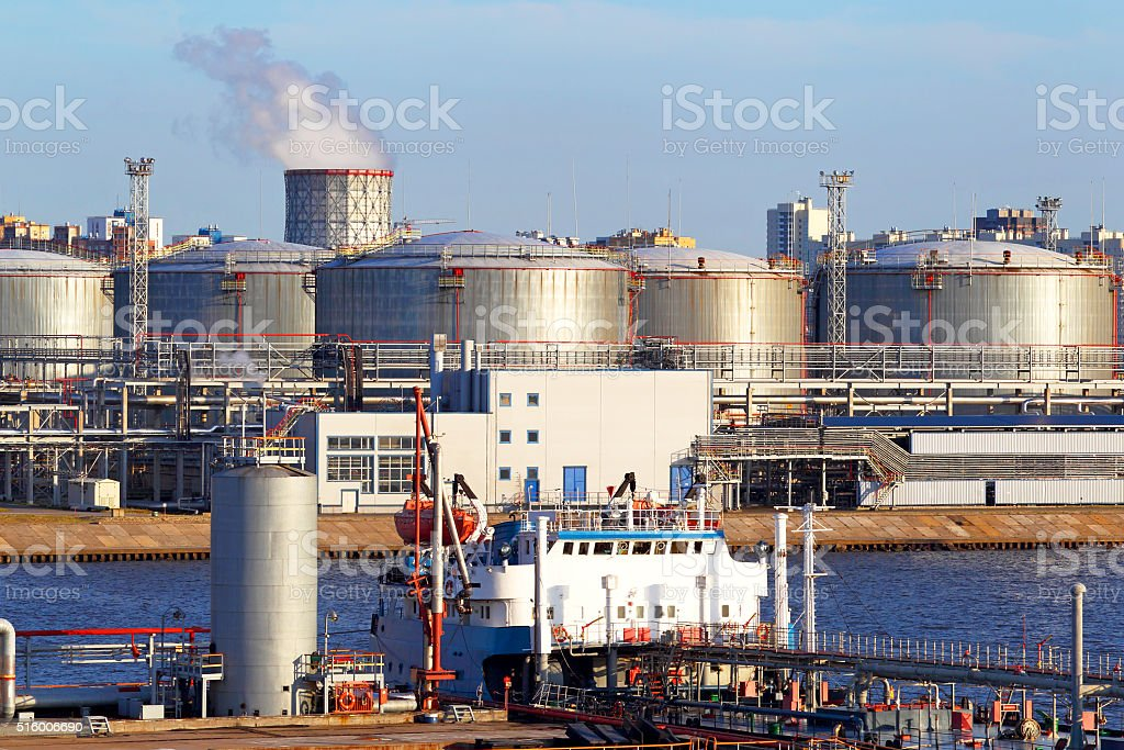Oil business terminal. The tanker in port. stock photo