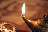 Oil Candle on an Old Islamic Scientist's Desk