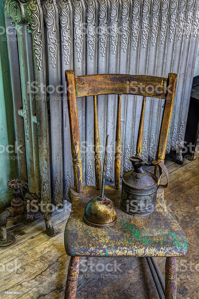Oil Cans, Wooden Chair, Radiator Still Life (HDR) stock photo
