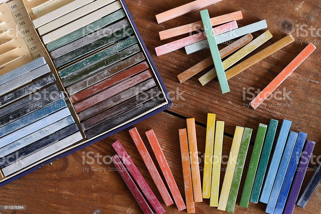 Oil chalks in box stock photo